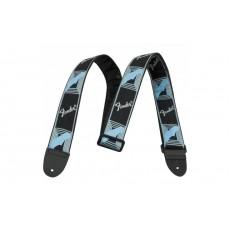 FENDER 2 MONOGRAMMED BLACK LIGHT GREY MEDIUM BLUE STRAP